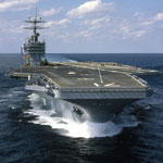 USS Theodore Roosevelt CVN 71, as built, on sea trials October 7, 1986.