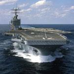 USS Theodore Roosevelt CVN 71, as built, on sea trials October 7, 1986.
